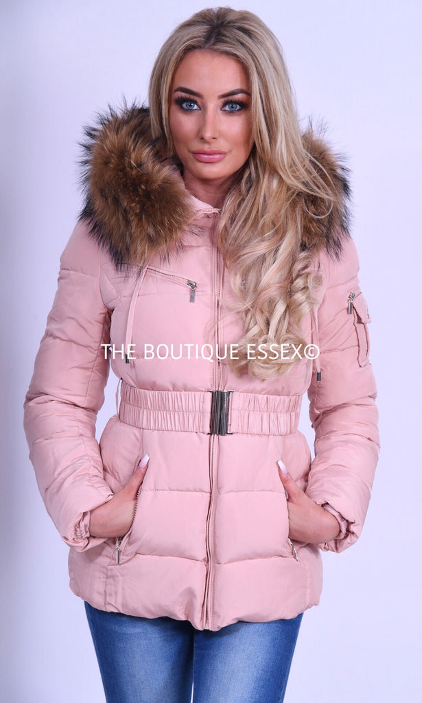 PARIS QUILTED PINK/NATURAL FUR COLLAR JACKET