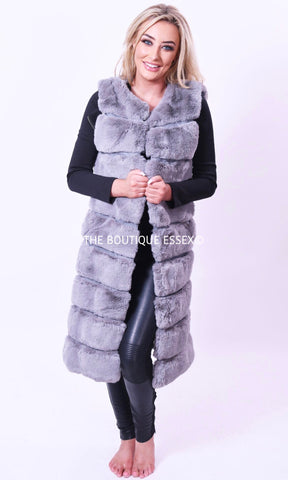 FREYA GREY FAUX FUR GILLET