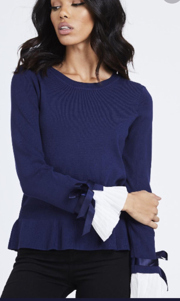 CHESCA NAVY PLEATED CUFF JUMPER
