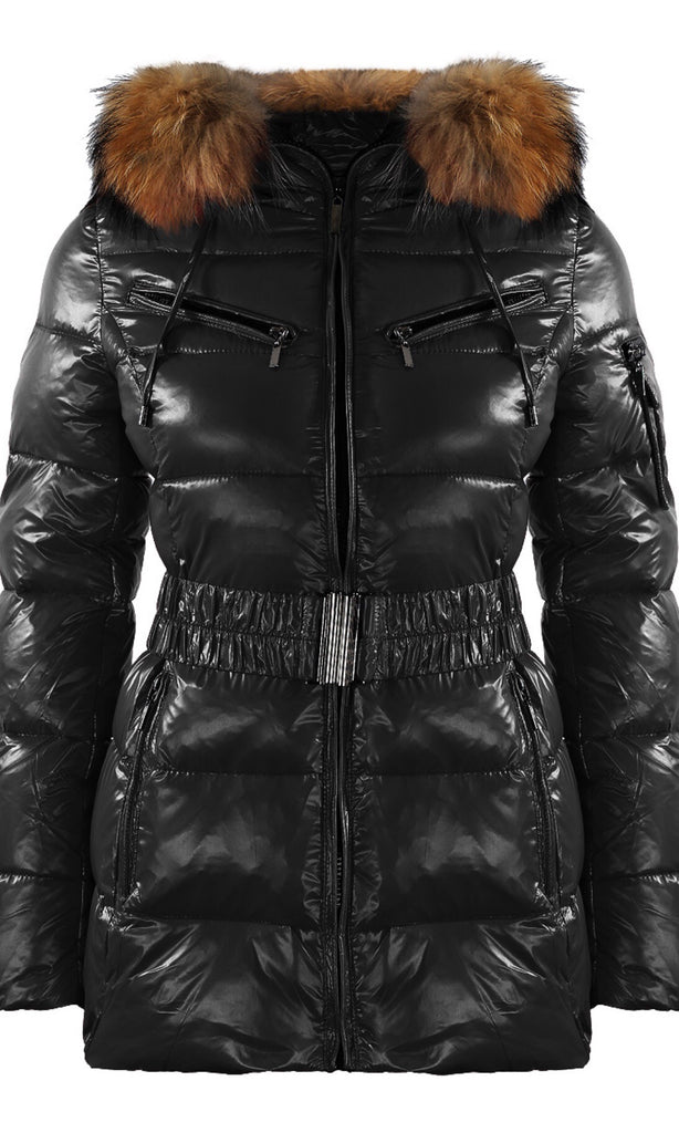 SHINY BLACK FUR PARIS JACKET