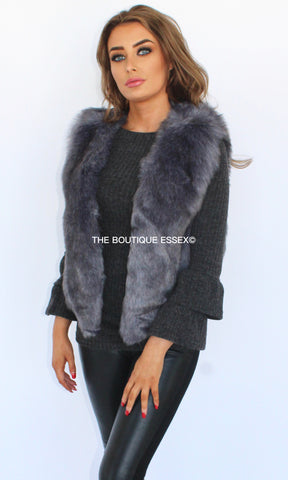 KYLIE DARK GREY FAUX FUR GILLET
