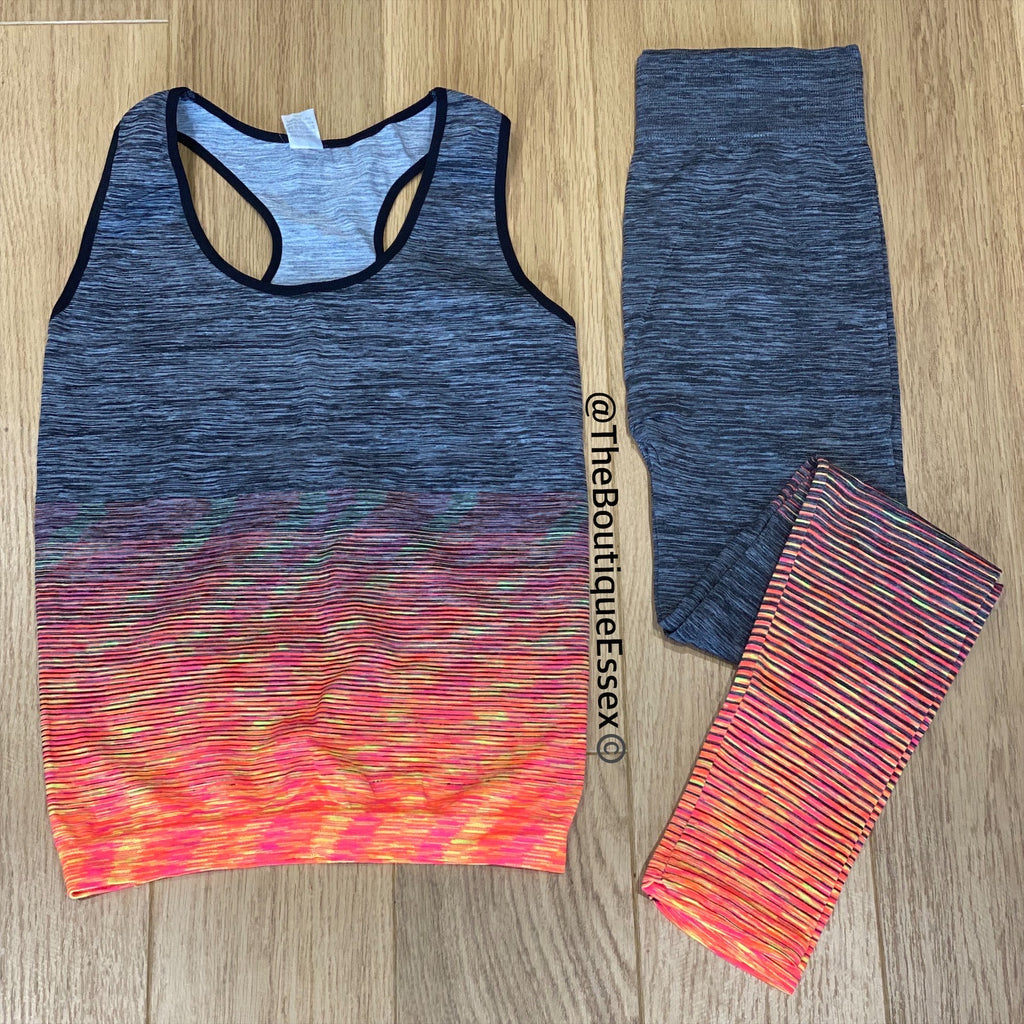 BIBA GREY/ORANGE GYM SET