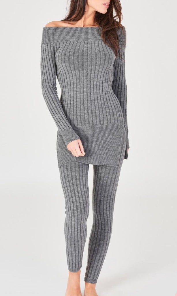 MINDY GREY KNIT 2 PIECE SEY