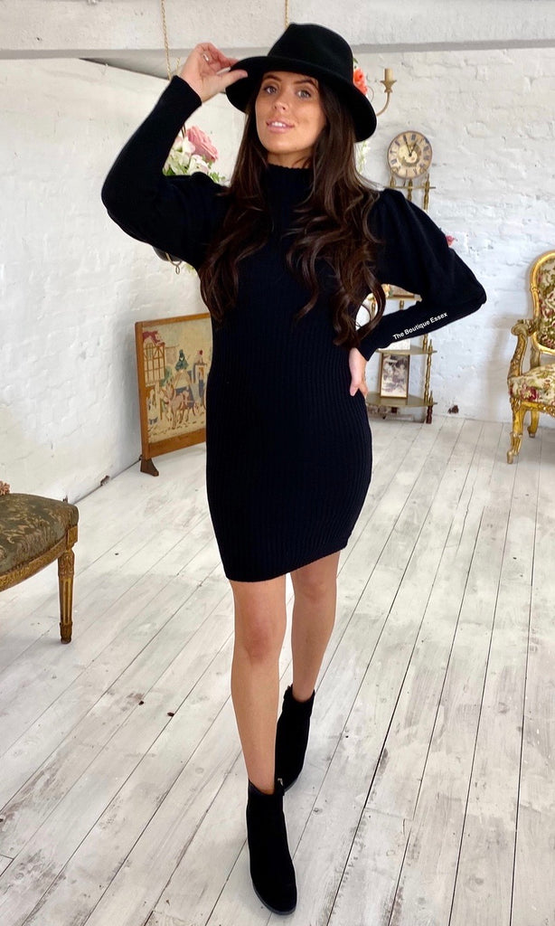 PIXIE KNIT BLACK DRESS