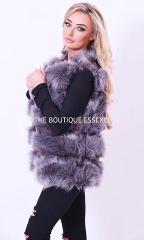 COURTNEY GREY FAUX FUR GILLET