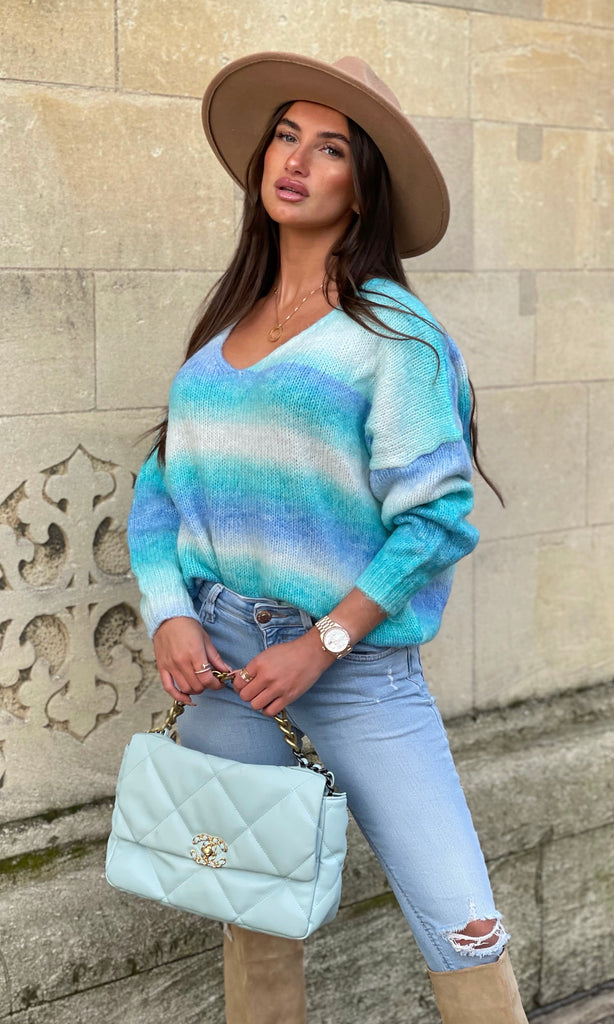 PIA BLUE MULTI COLOUR JUMPER