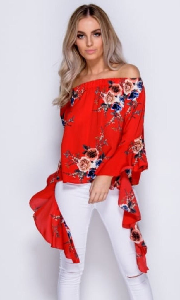 FLO RED FLORAL TOP