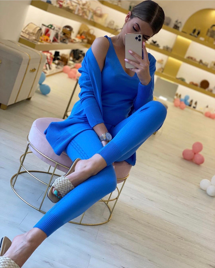 KHLOE BLUE 3 PIECE LOUNGEWEAR SET