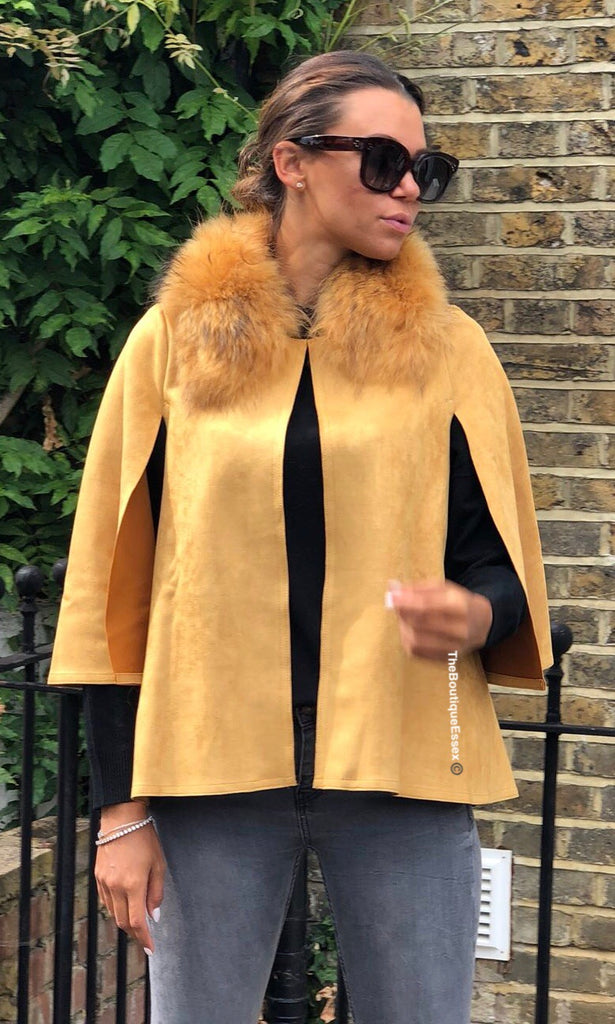 DOLL MUSTARD FOX COLLAR CAPE