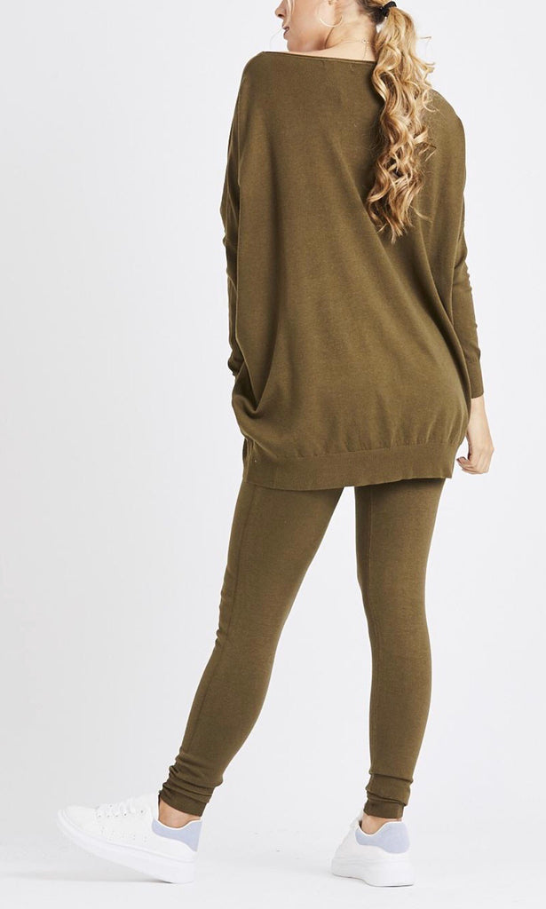 MADDY SOFT KNIT KHAKI 2 PIECE SET