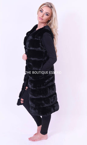 FREYA BLACK FAUX FUR GILLET