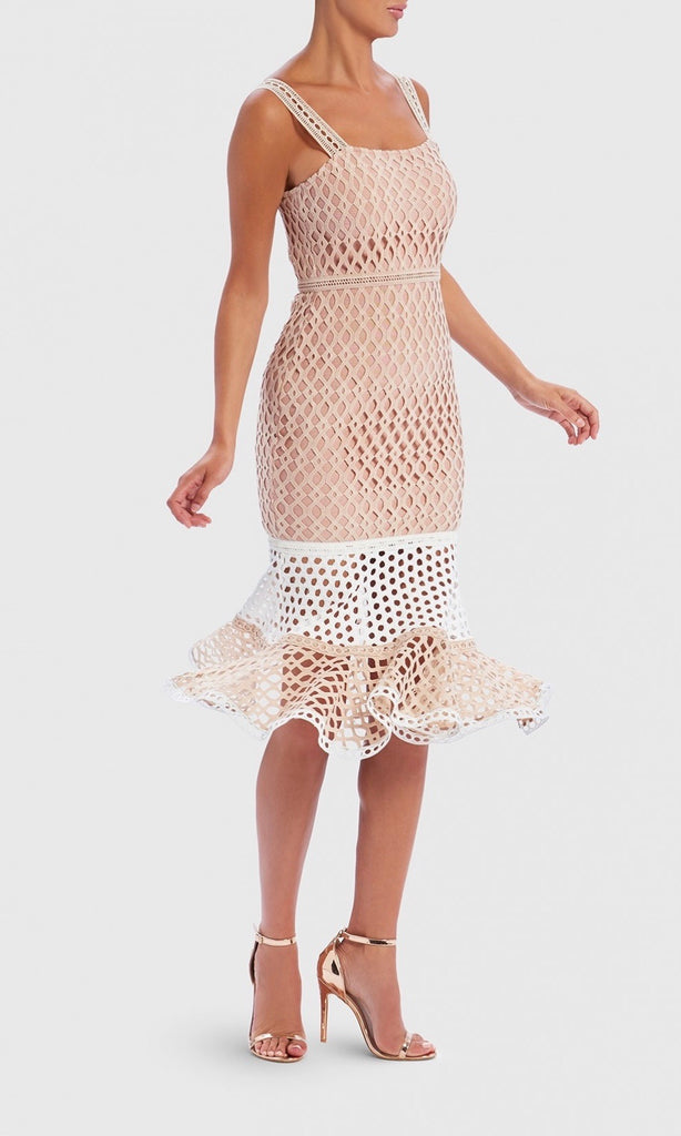 NUDE & WHITE FRILL BANDAGE DRESS