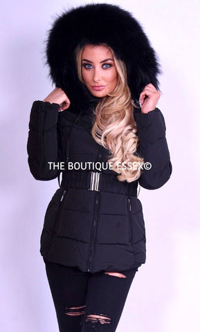 PARIS QUILTED BLACK/BLACK FUR COLLAR JACKET