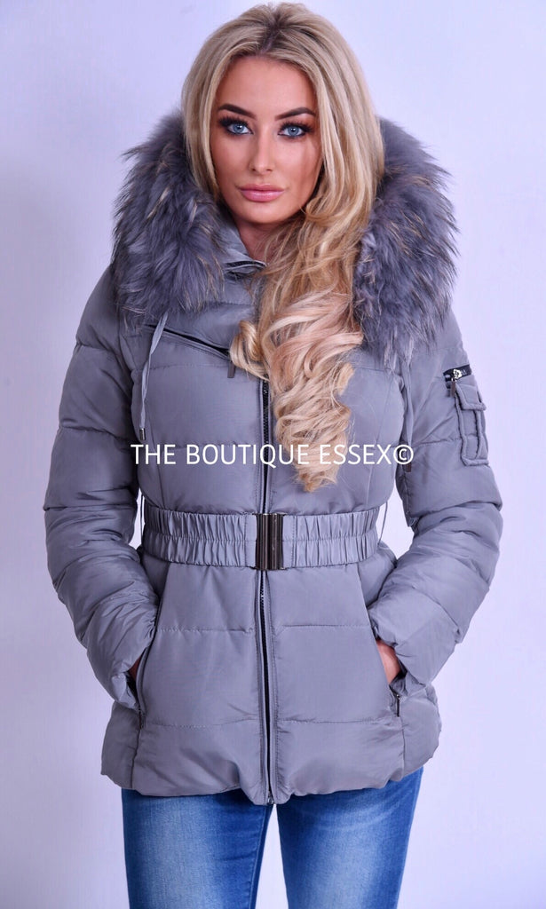 PARIS QUILTED GREY/GREY FUR COLLAR JACKET