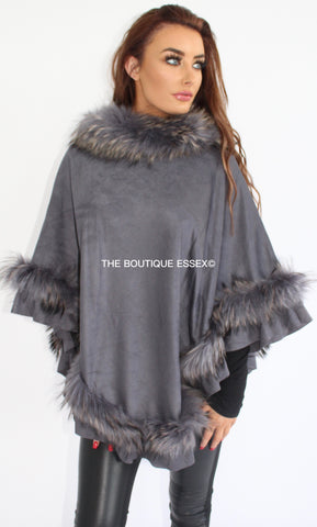 MARTINA GREY FUR PONCHO