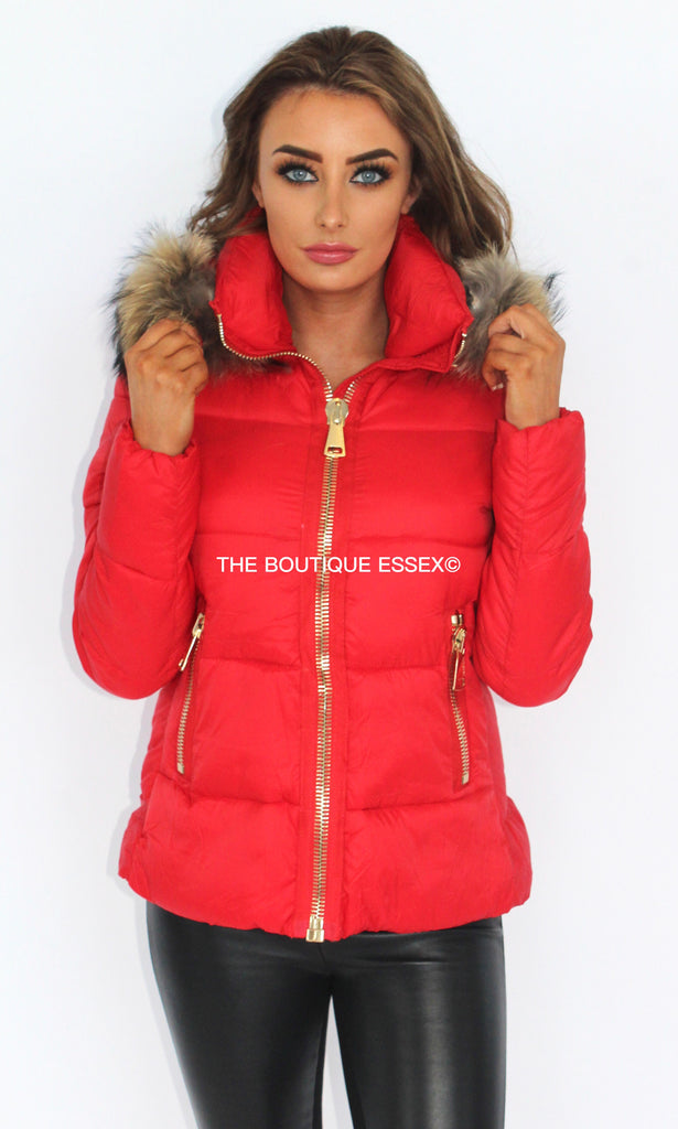 ROSA FUR COLLAR RED JACKET
