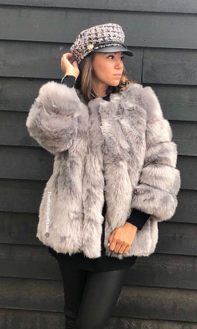 PATTI LUXURY GREY FAUX FUR JACKET