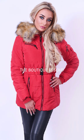ROME RED FAUX FUR JACKET