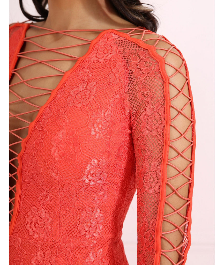 RITA CORAL LACE BODYCON