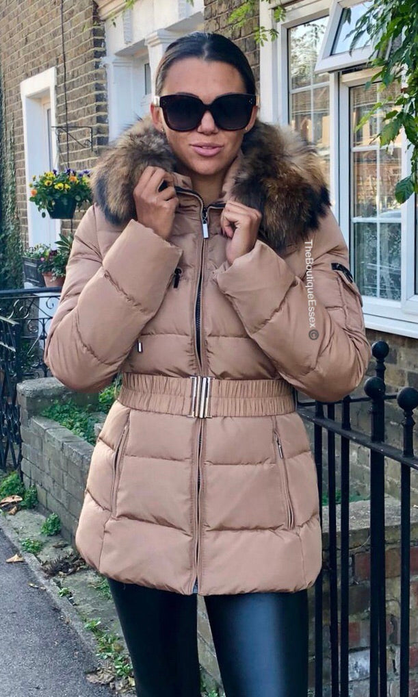 PARIS BEIGE QUILTED FUR COLLAR JACKET (EXCLUDED FROM ALL SALE PROMOTIONS)