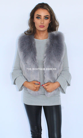 KYLIE LIGHT GREY FAUX FUR GILLET
