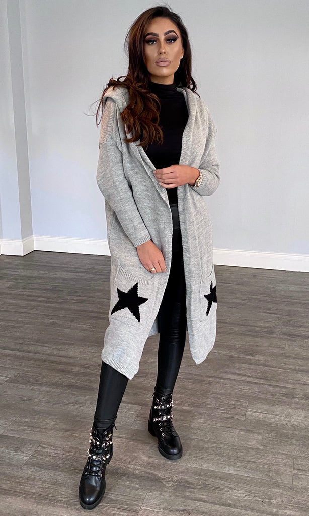 STAR GREY HOODED CARDIGAN