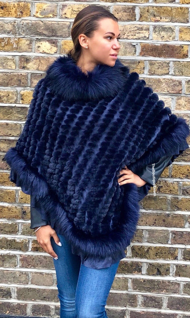 JAY LUXURY NAVY FAUX FUR PONCHO