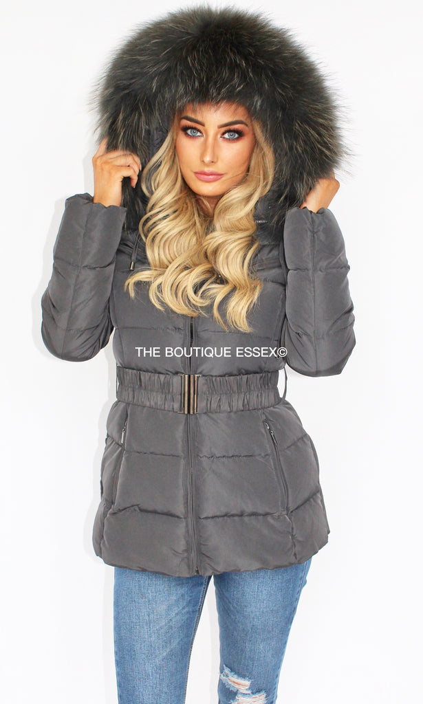 PARIS DARK GREY/GREY FUR COLLAR JACKET