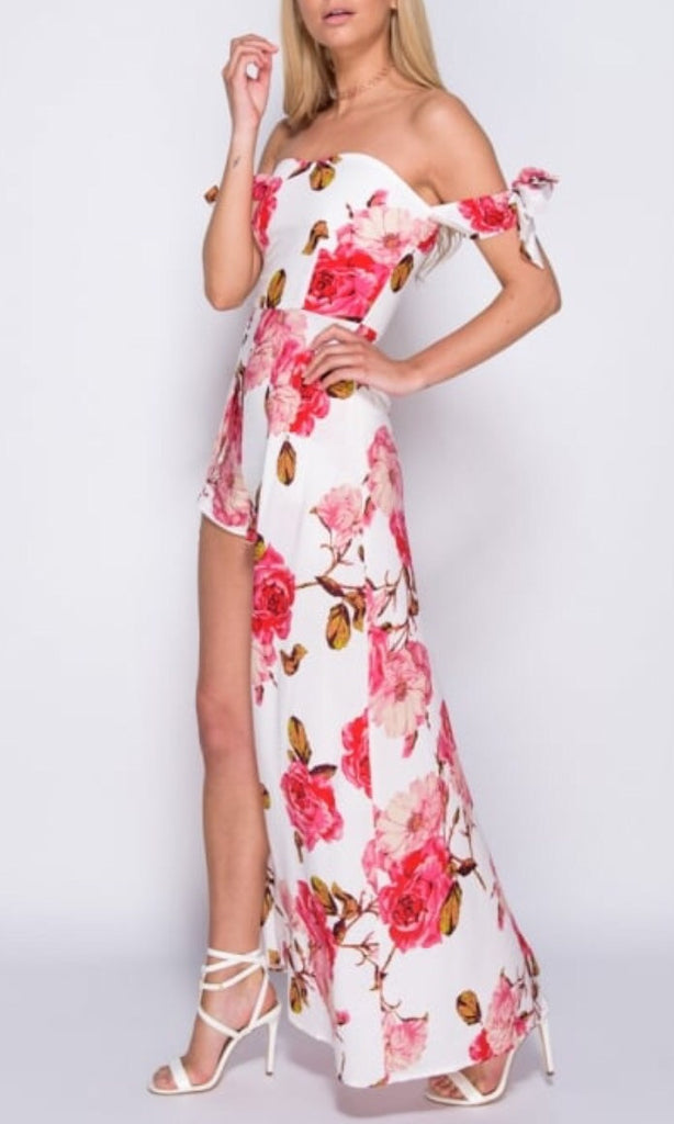 HAZE FLORAL BARDOT DRESS