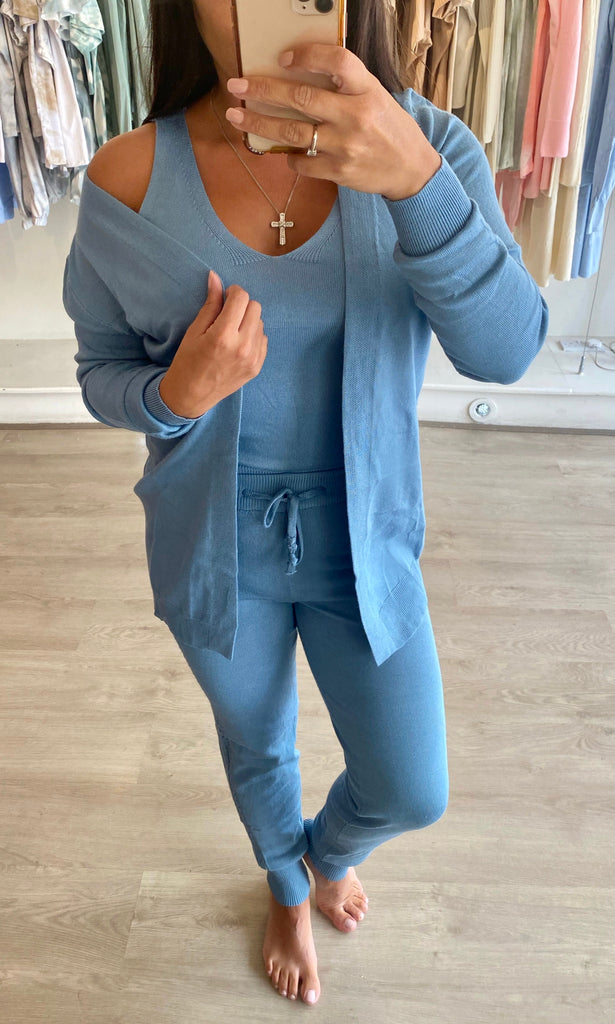 FREYA BLUE 3 PIECE LOUNGEWEAR SET