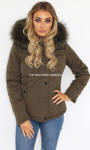 MONICA KHAKI FUR JACKET