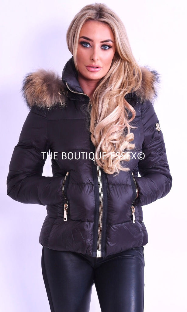 ROSA FUR COLLAR BLACK JACKET