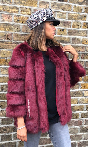 PATTI LUXURY RED FAUX FUR JACKET