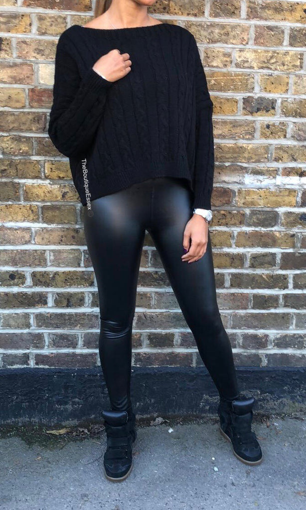 POLLY PU BLACK LEGGINGS