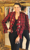 LULU RED TWEED TASSEL JACKET