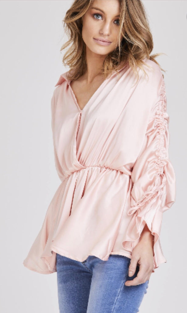 NIKKI PINK RUCHED SLEEVE TOP