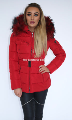 PARIS DARK RED/RED FUR COLLAR JACKET