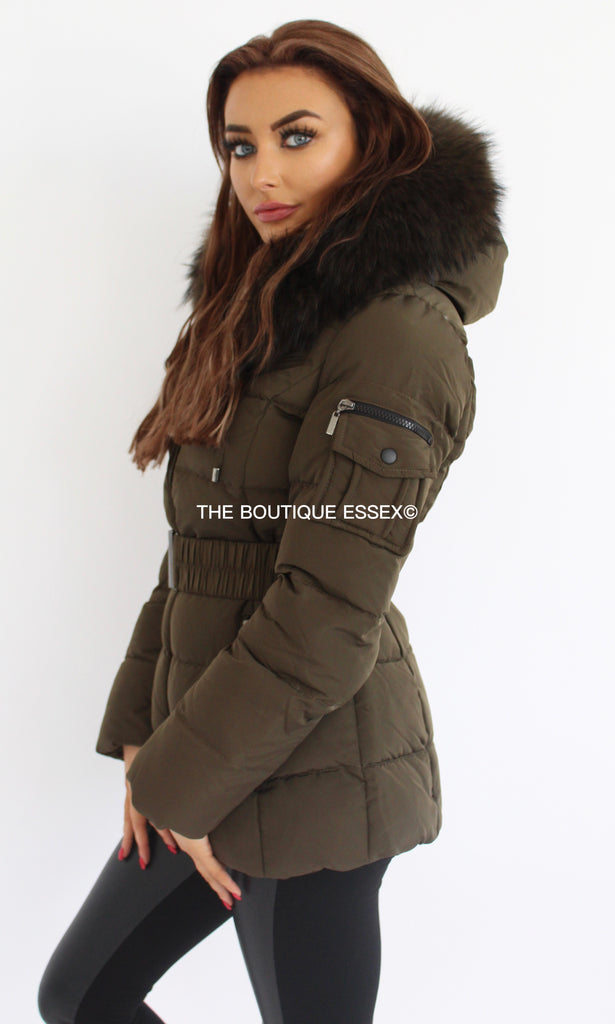 PARIS KHAKI/KHAKI FUR COLLAR JACKET