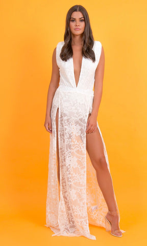 TAYLOR - WHITE LACE BODYSUIT & LACE MAXI SKIRT SET