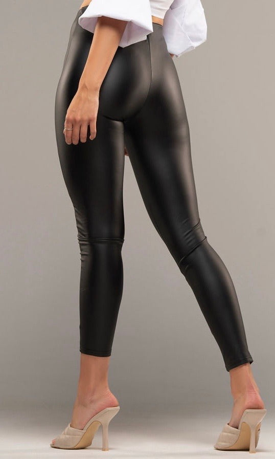 MOLLY PU BLACK LEGGINGS