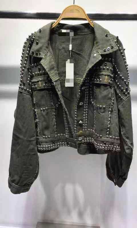 MILLIE KHAKI STUDDED JACKET