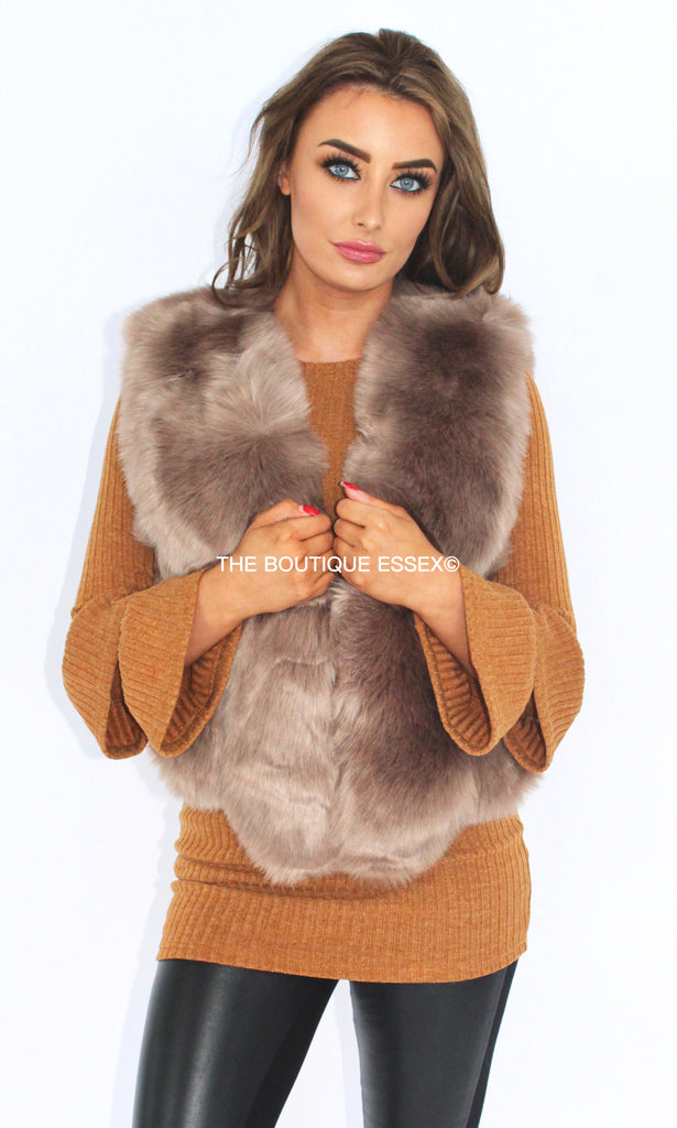 KYLIE NATURAL FAUX FUR GILLET