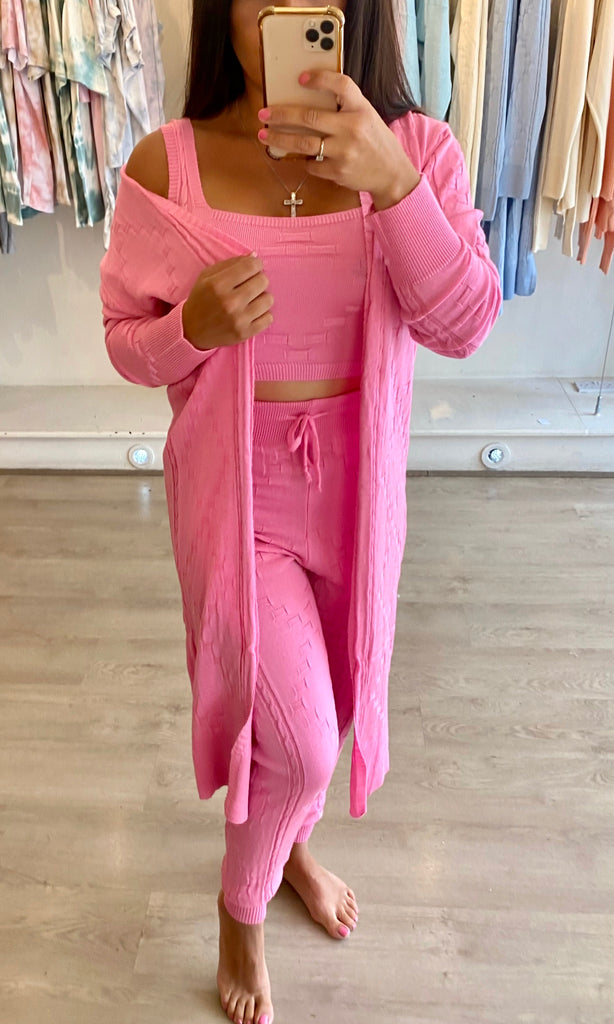 KOURTNEY PINK 3 PIECE LOUNGEWEAR SET