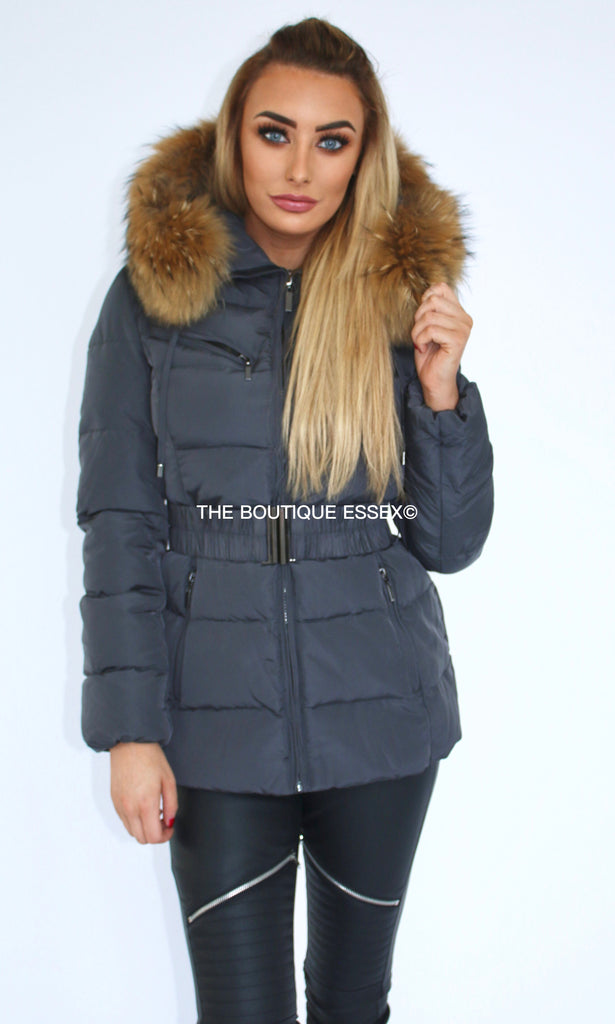 PARIS GREY QUILTED FUR COLLAR JACKET