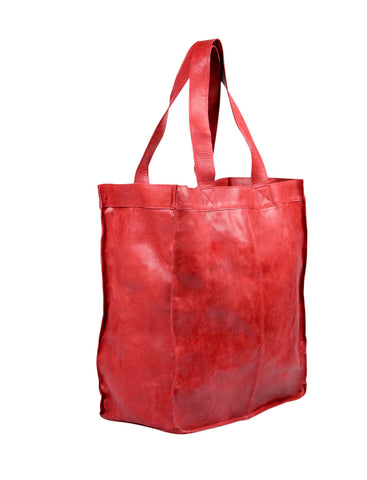 Capri Leather Shopper in cherry