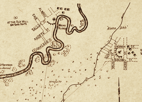 Siege of the Alamo Map by Col. Andrew Jackson Houston