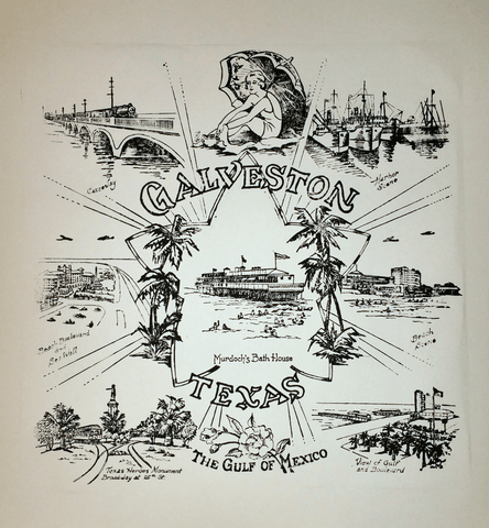 1930s Galveston - Murdoch's Bath House Print - Black