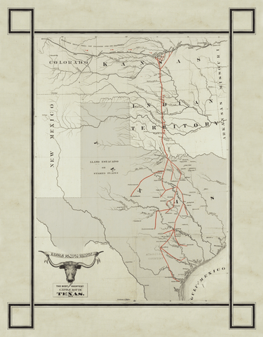 1872 Texas Cattle Trail Map