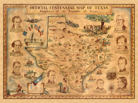 Official Centennial map of Texas - 1936