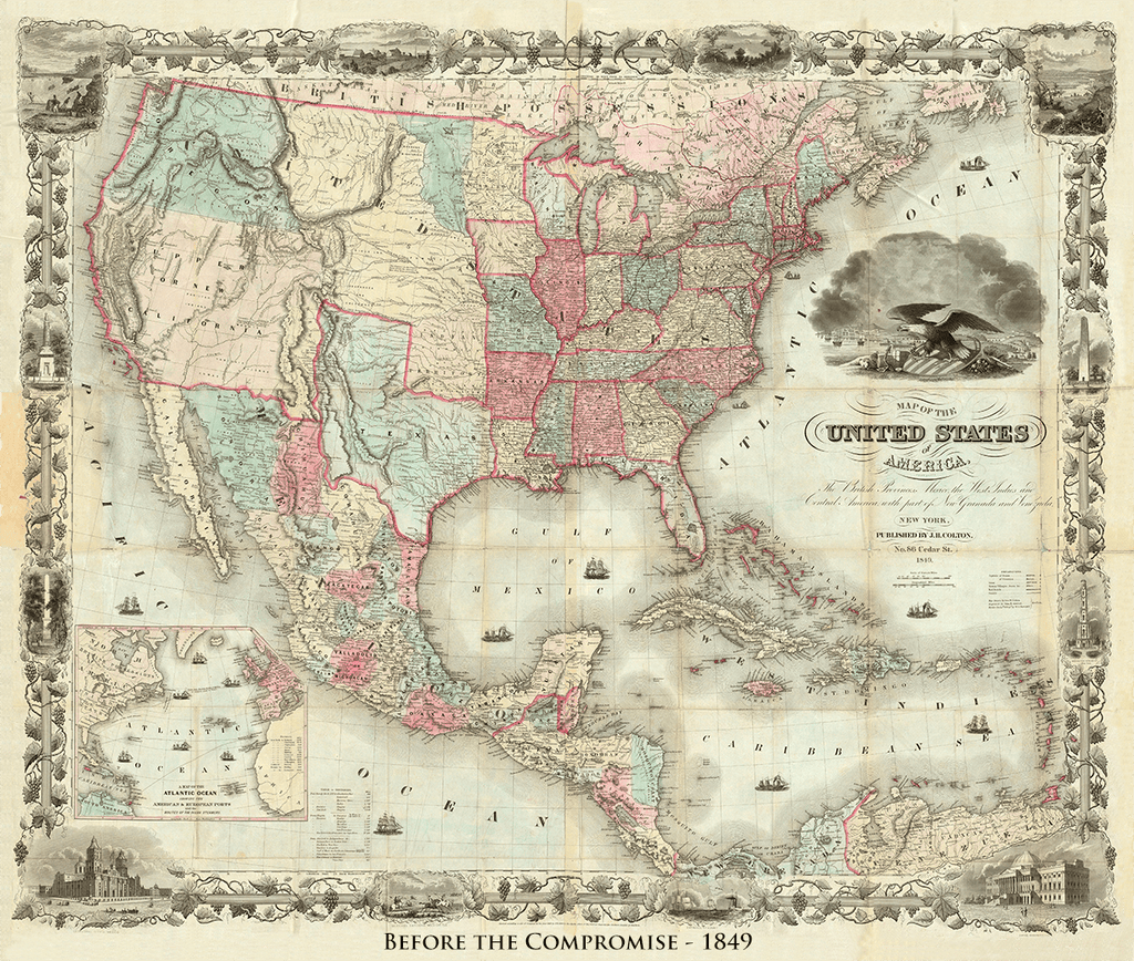 Colton's Map of United States and Texas - 1849